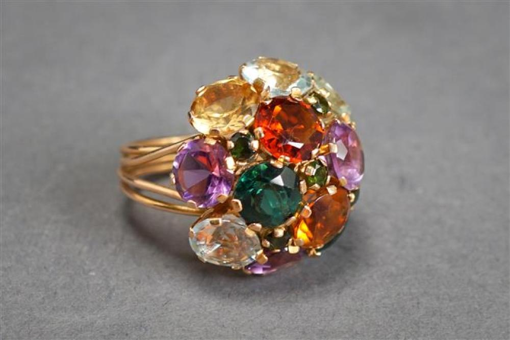 Tested 14-Karat Yellow-Gold and Gem-Set Ring, 7.6 gross dwt, Size: 7
