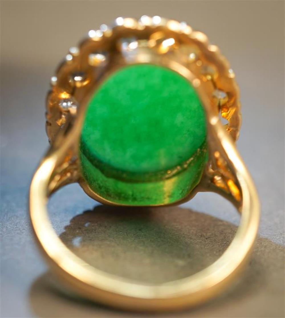 14-Karat Yellow-Gold and Jade Ring, 5.8 gross dwt, Size: 6, Jade: 19.70 x 14.25 mm