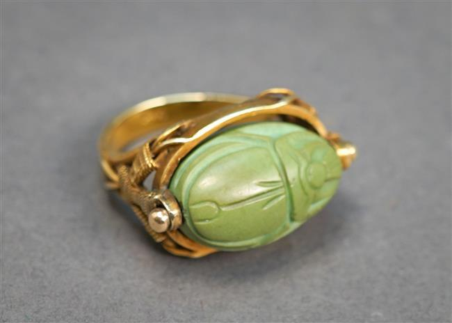 14-Karat Yellow-Gold and Turquoise Rotating Scarab Ring, 5 gross dwt, Size: 6