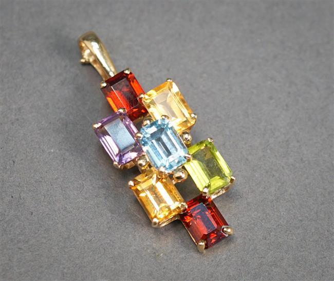 14-Karat Yellow-Gold and Multi-Color Gem Set Pendant, 2.9 gross dwt, Length: 1-3/8 in