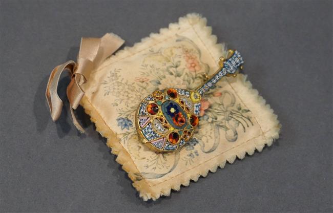 Italian Micro Mosaic 'Lute' Brooch
