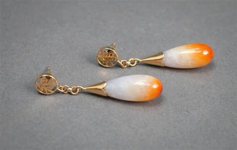 Pair of 14-Karat Yellow-Gold and Jade Pierced Pendant Earrings, Length: 1-5/8 in