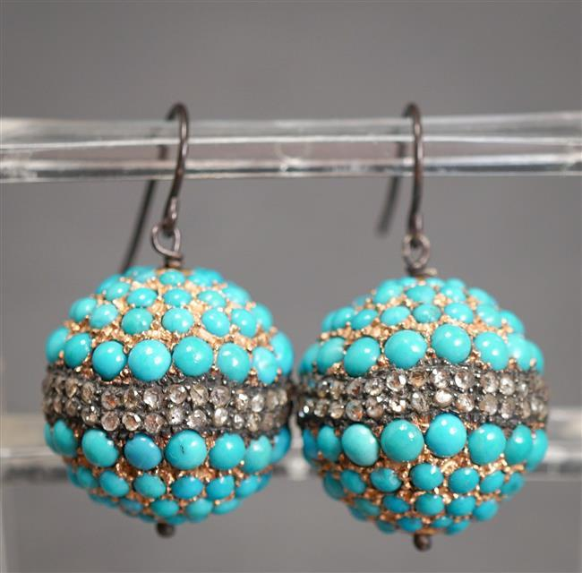 Silver, Rose-Cut Diamond and Turquoise Pierced Pendant Earrings, Diameter: 19.1 mm