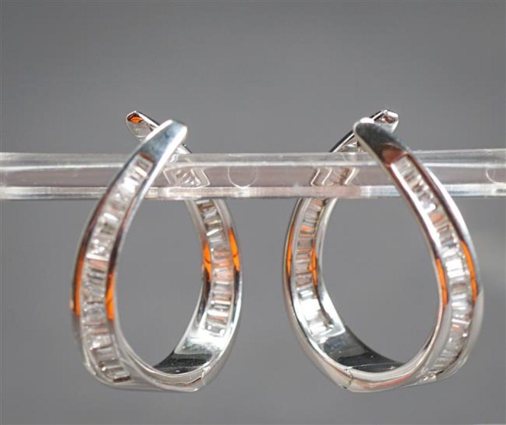 Pair of 14-Karat White-Gold and Diamond Hoop Pierced Earrings, 4.3 gross dwt, L: 7/8 in