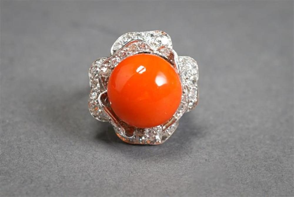 14-Karat White-Gold, Coral and Diamond Cocktail Ring, Coral approx 13.7 mm, 7.8 gross dwt, Size: 5-1/2