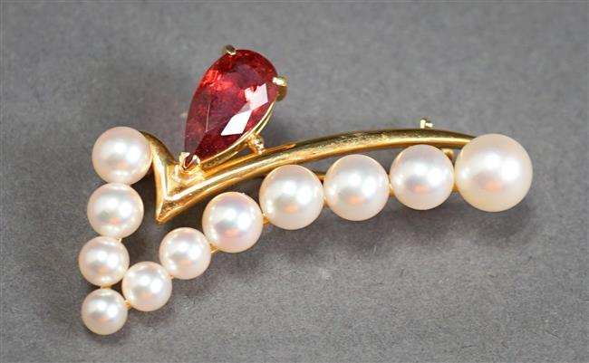 18-Karat Yellow-Gold Rubellite Tourmaline and Cultured Pearl Brooch, Tourmaline approx 1.73 ct, 4.2 gross dwt, Width: 1-1/2 in