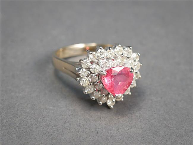14-Karat White-Gold, Pink Sapphire and Diamond Ring, Sapphire approx 1.65 ct, Size: 6-3/4, 4.4 gross dwt