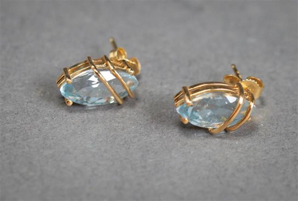 Pair of 14-Karat Yellow-Gold and Blue Topaz Pierced Earrings