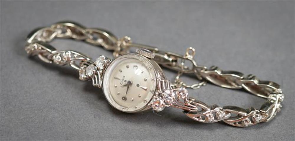 Ladies' Elgin 14-Karat White-Gold and Diamond 19-Jewel Manual-Wind Wristwatch, 8.7 gross dwt without movement