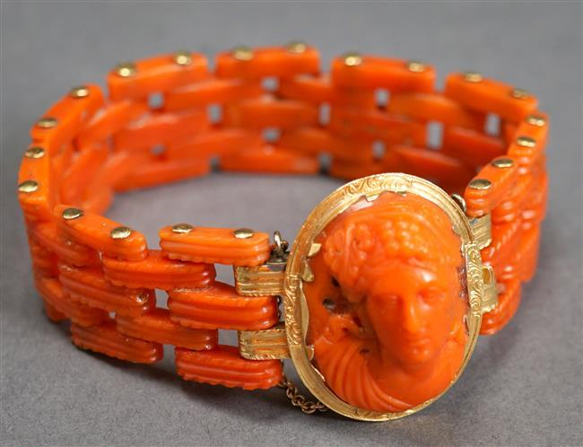 Victorian 14-Karat Yellow-Gold and Carved Coral Cameo Bracelet, Length: 6 in