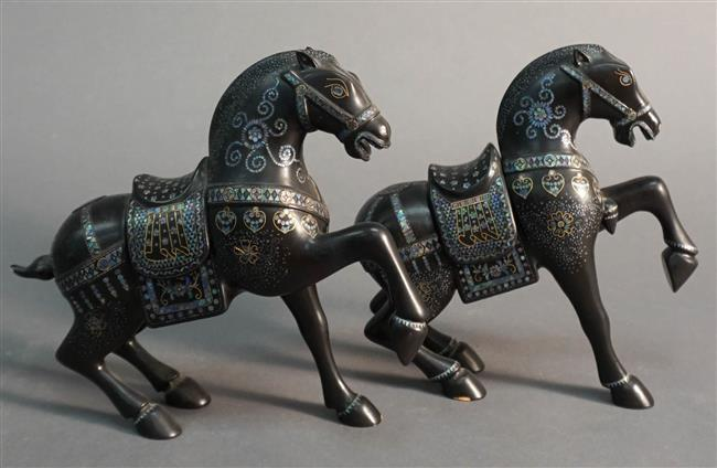 Pair Chinese Lac Burgaute Figures of Palace Horse Form Censers, H: 8 in