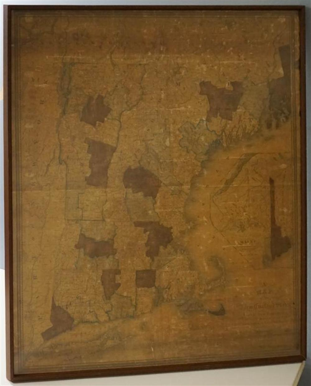 Nathan Hale, Carrographer, Colored Engraved Map of The New England States, Publ. 1820, Framed, 46 x 40-1/4 inches