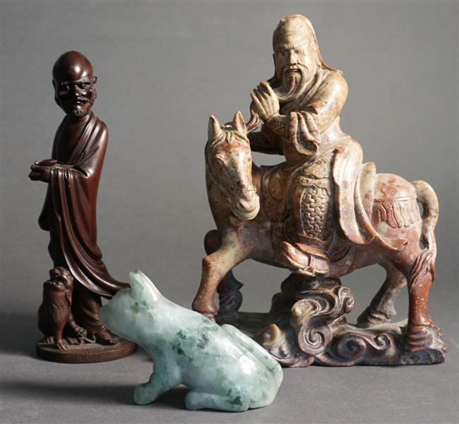 Chinese Carved Soapstone Figure of Horse, Green Quartz Animal and a Wood Figure