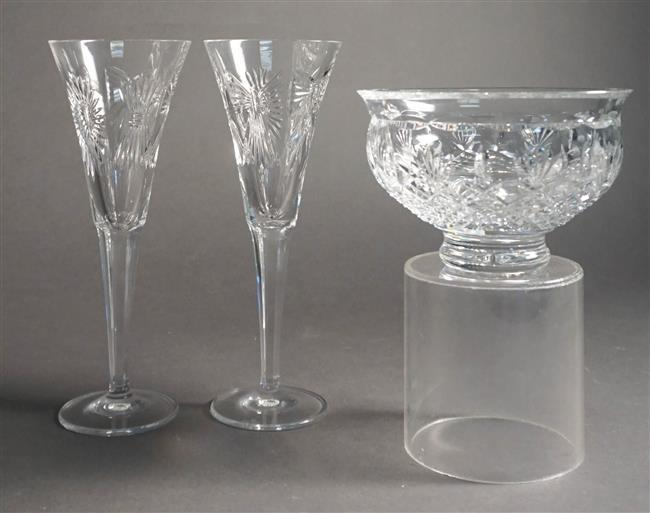 Pair Waterford Crystal Toasting Flutes and 8-inch Killarney Bowl with Original Boxes