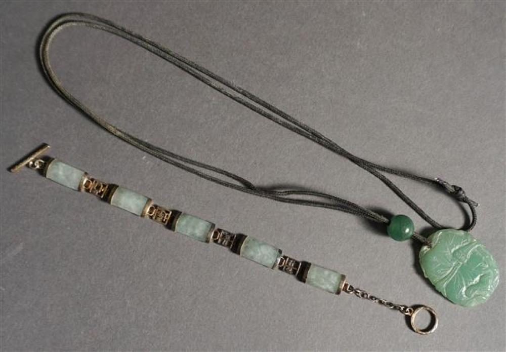 Chinese Silver and Green Hardstone Bracelet and Carved Green Jade Pendant