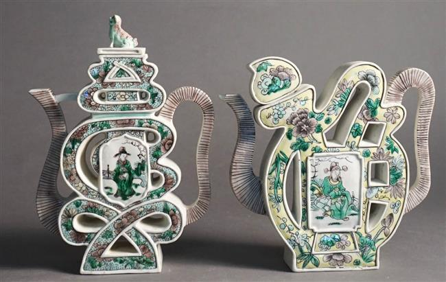 Pair Chinese Famille Verte Bisque Puzzle Teapots (one spout damaged)
