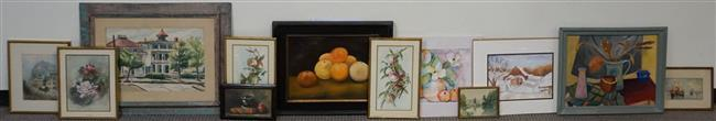 Group with Twelve Watercolors (some framed, various sizes)