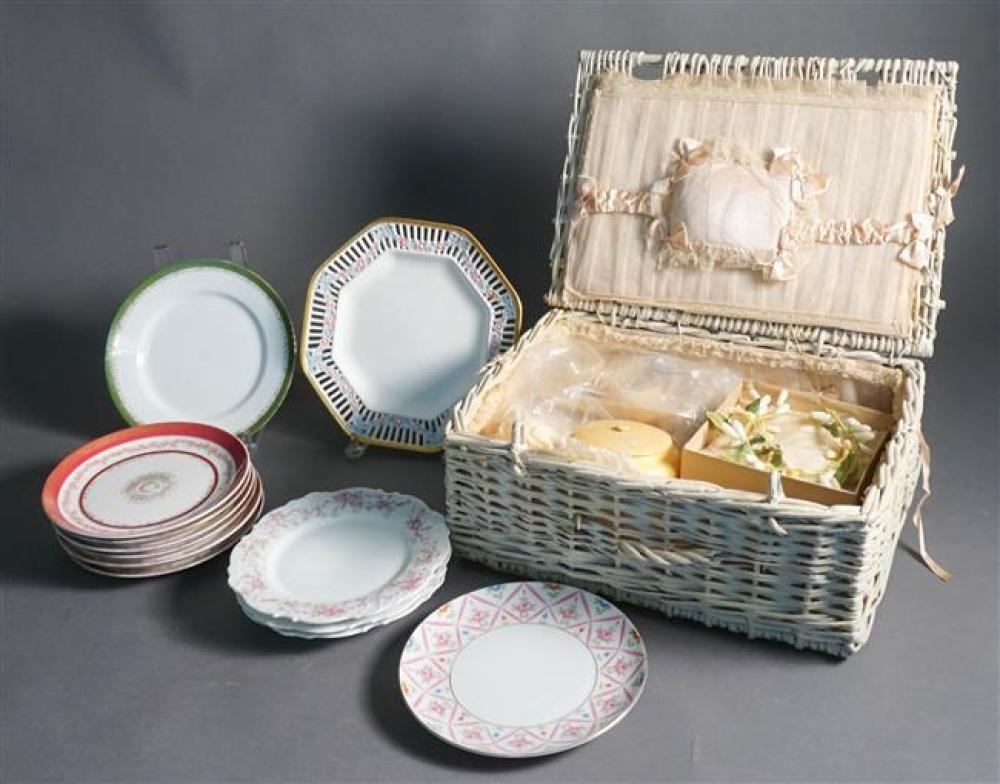 Japanese Satsuma Vase mounted as Lamp and Group with European Porcelain Dessert Plates and Wicker Trousseau Case and Contents