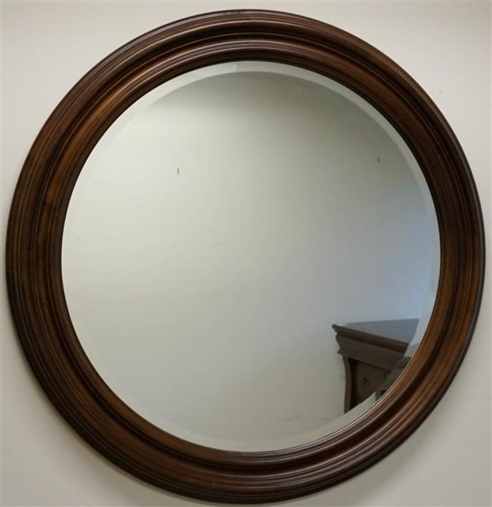Kincaid Stained Fruitwood Round Mirror, Diameter: 36-1/2 in