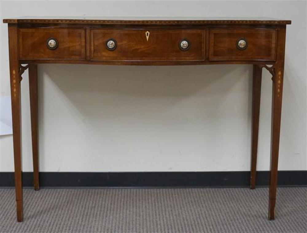 Federal Style Inlaid Mahogany and Porcelain Inset Sideboard, H: 39 in, W: 52 in, D: 20 in