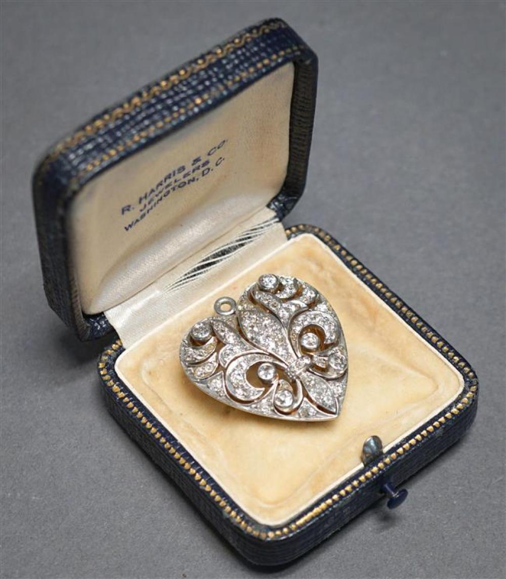 Edwardian Platinum Topped, Yellow-Gold and Diamond 'Heart' Pendant Brooch, 9 gross dwt, 1-1/4 x 1-1/8 in