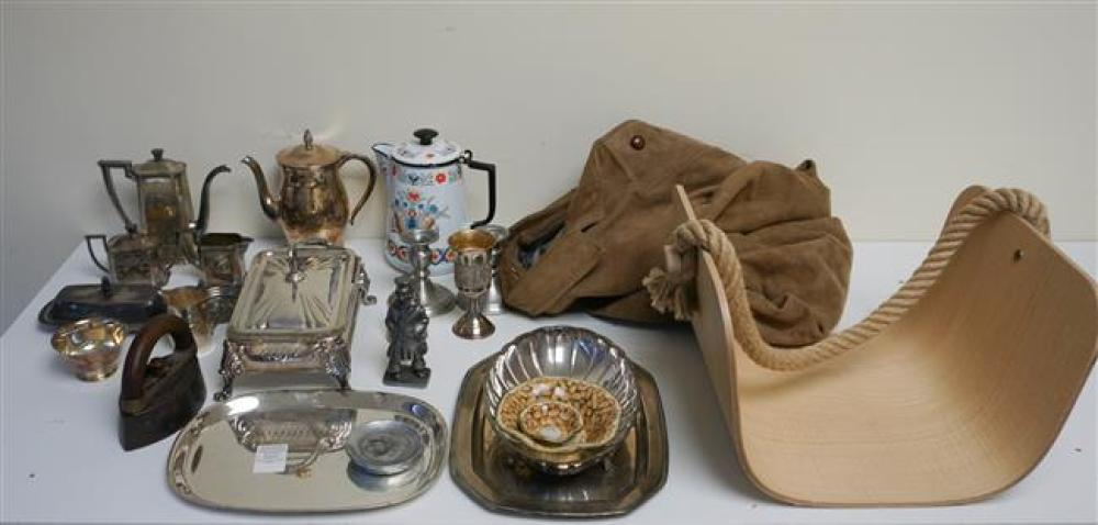 Collection with Assorted Silver Plate Table Articles, Jacket, Ikea Basket and Assorted Table Articles