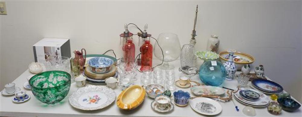 Collection with Assorted Crystal, Glass and Porcelain Table Articles
