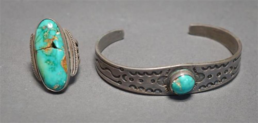 Southwest Silver and Turquoise Ring (as is) and Cuff Bracelet