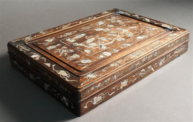 Chinese Mother-of-Pearl Inlaid Teak Box, 16 x 12 in