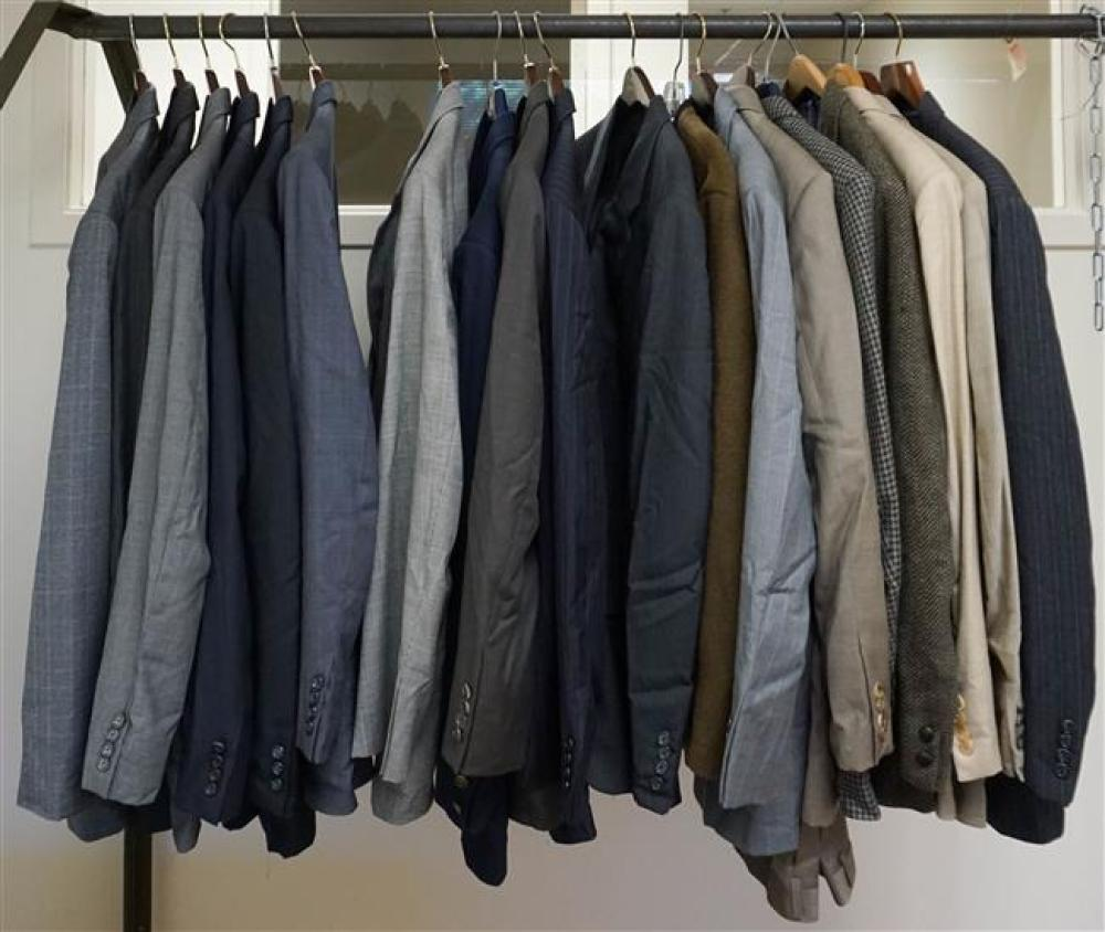 Nineteen Gentleman's Suit and Sport Jackets by Burburry, Hickey, Freeman and others (most Size 44R)