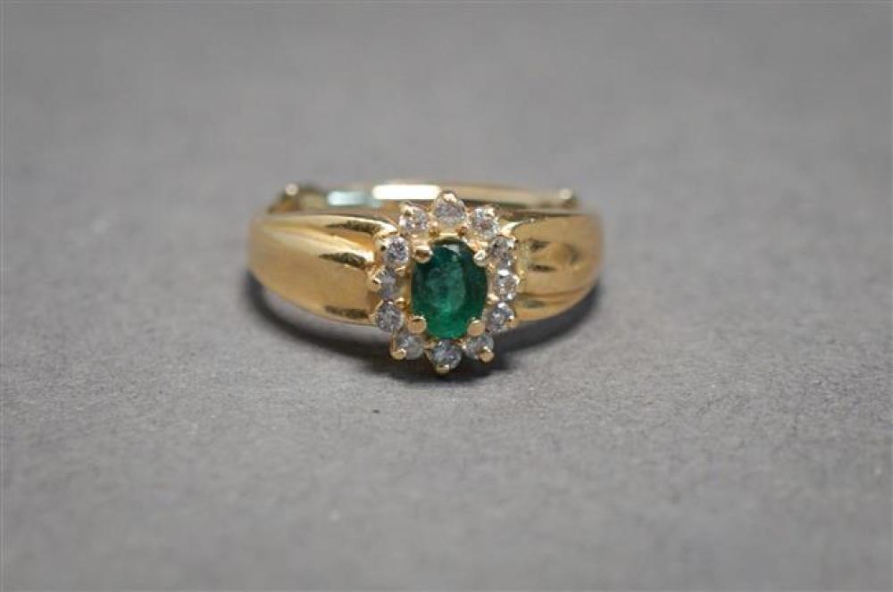 14-Karat Yellow-Gold, Emerald and Diamond Ring, 2.3 gross dwt., Size: 5-1/2