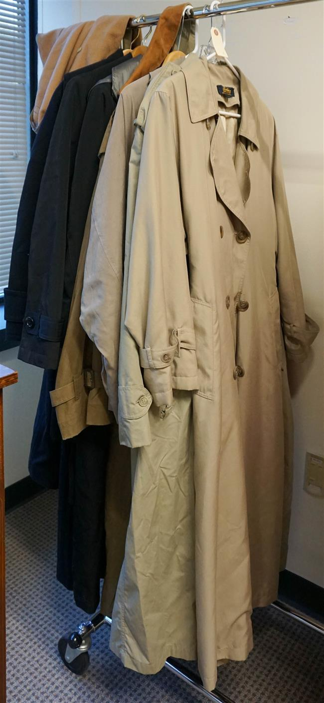 Eight Rain and Formal Coats by Burberry, London Fog and Calvin Klein