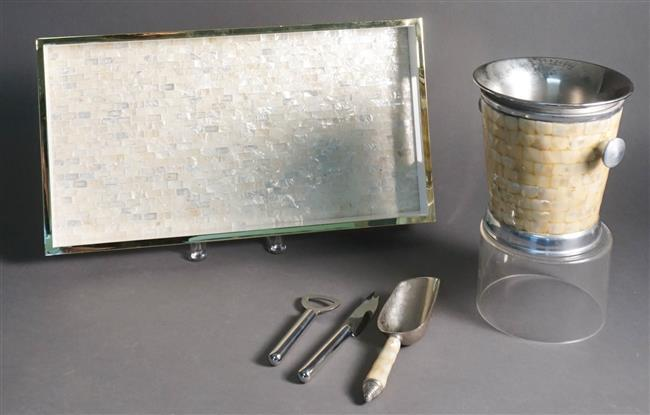 Abalone Shell and Brass Mounted Tray, Ice Bucket and Assorted Barware