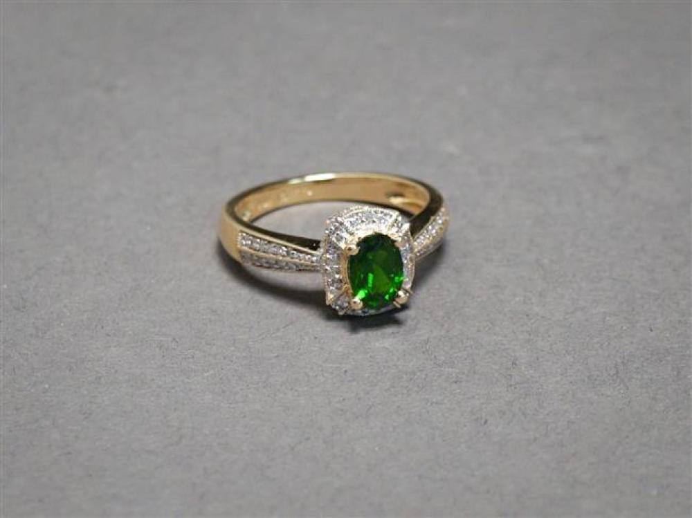 14-Karat Yellow-Gold, Green Tourmaline and Diamond Ring, 2.5 gross dwt, Size: 7