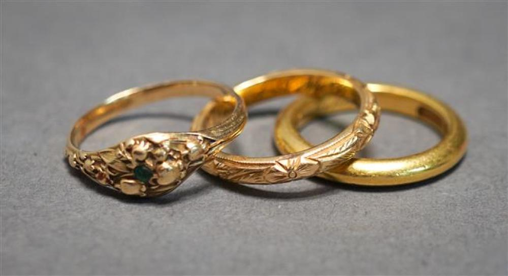 22-Karat Yellow-Gold Band (3.1 dwt), Galt 18-Karat Yellow-Gold Band (1.9 dwt) and 14-Karat Yellow-Gold Ring (1.2 gross dwt)