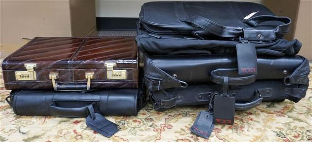 Three Black Vinyl Suitcases, Leather Carrying Bag and Two Briefcases
