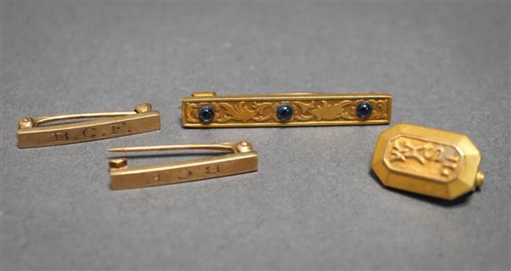 Three 14-Karat Yellow-Gold Pins and 14-Karat Yellow-Gold Class Pin