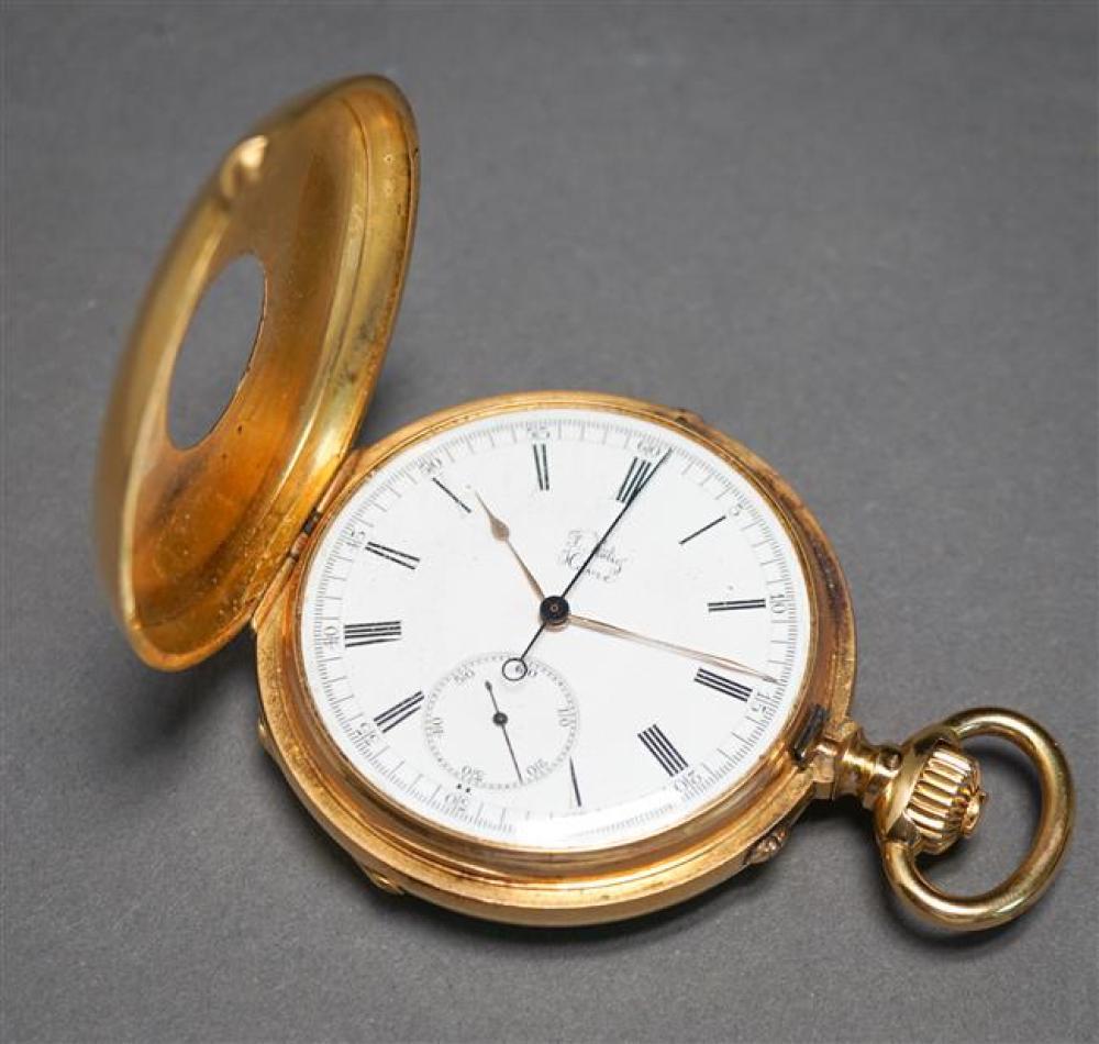 Gentleman's F. Rotig Havre 18-Karat Yellow-Gold and Black Enamel Half-Hunter Chronometer Pocket Watch, 81.3 gross dwt., D: 53mm