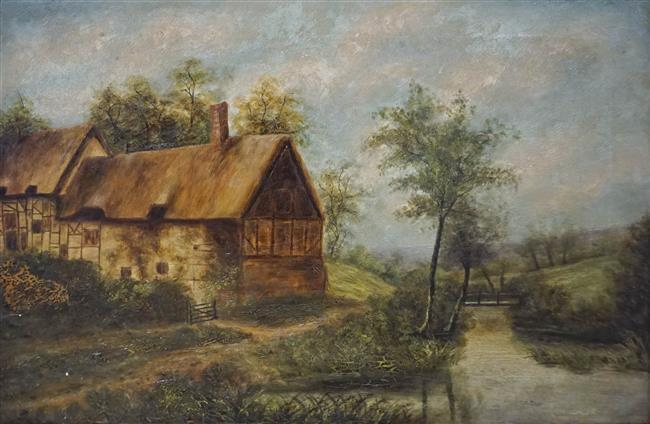 British School, Rural Landscape with Cottage, Oil on Canvas, Framed, 26-1/2 x 35 inches