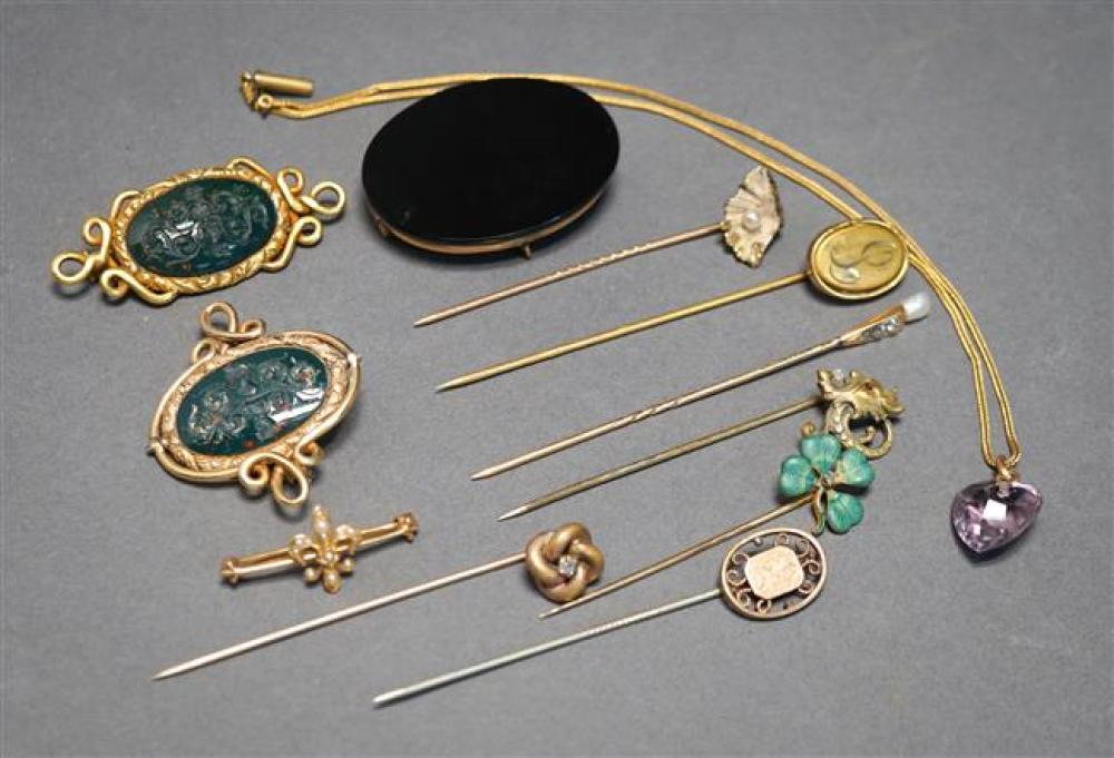 Three Yellow-Gold Pins and a Small Collection of Early 20th Century Jewelry, 3.2 gross weighable dwt
