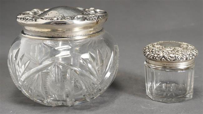 Two American Sterling Silver and Cut Glass Rococo Style Dresser Jars, H of Taller: 3 inches, 1.3 weighable oz