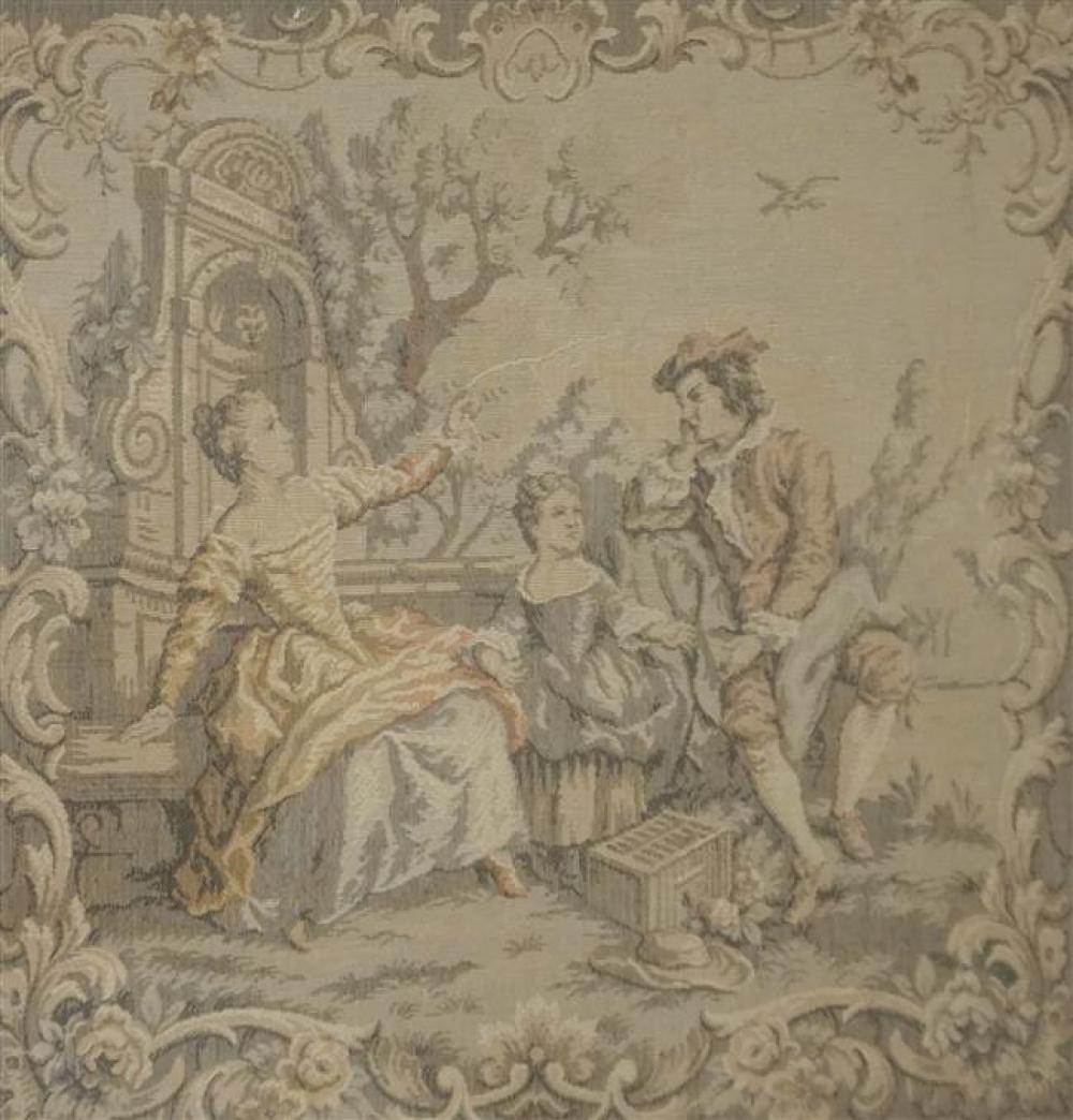 French Garden with Figures, Machine Tapestry, 22 x 22-1/2 inches