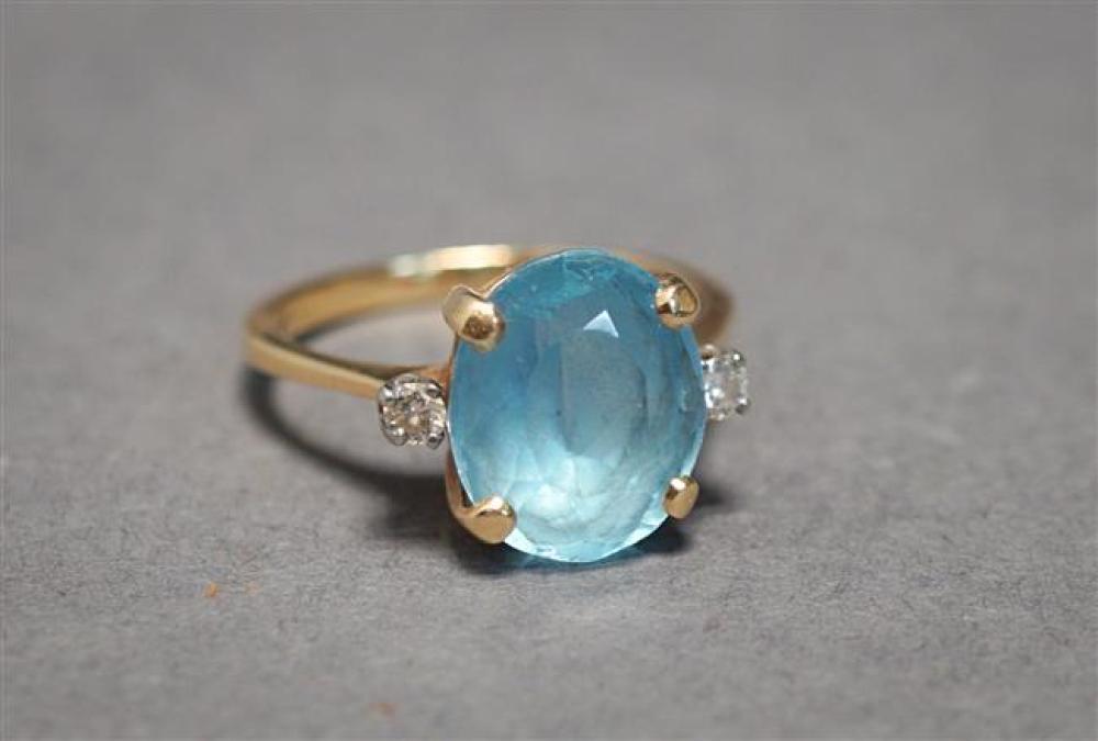 14-Karat Yellow-Gold, Blue Topaz and Diamond Ring, 2.7 gross dwt, Size: 7