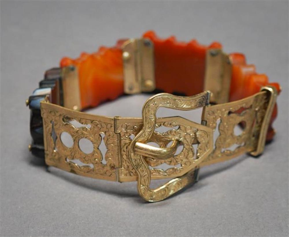 Victorian Gold-Filled and Carved Agate Belt Form Bracelet, Length: 6-3/4-8-1/4 in, Width: 7/8 in