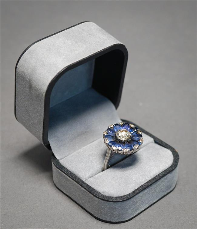 Platinum, Diamond and Blue Sapphire Ring, Old Mine Cut Diamond approx 1 ct, Size: 7-1/4