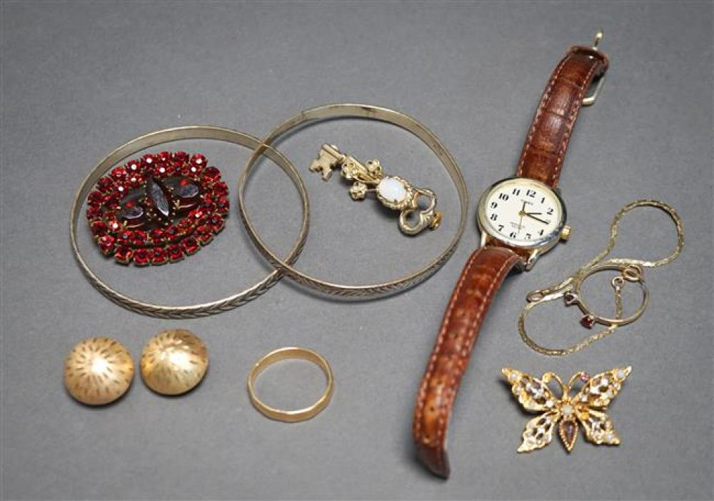 14-Karat Yellow-Gold Band, a Pair of 14-Karat Yellow-Gold Ear Clips and a Small Collection of Costume Jewelry, 4.9 weighable dwt