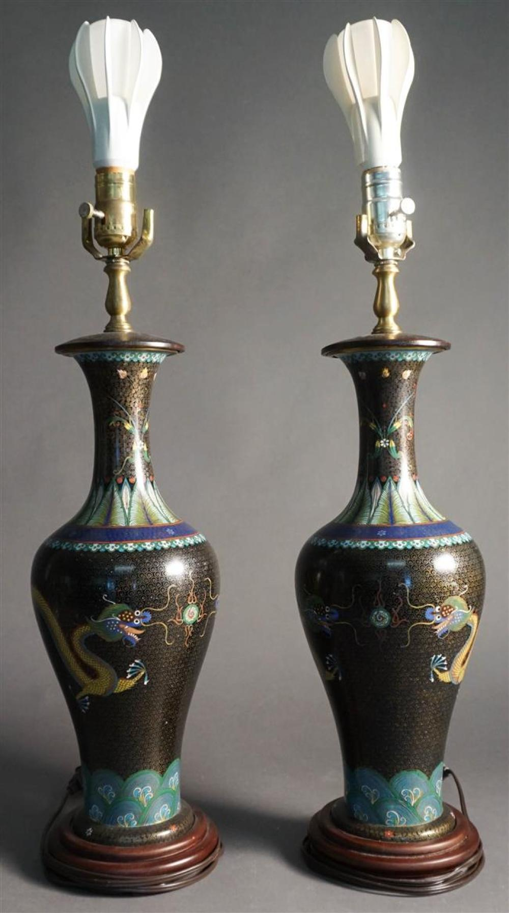 Pair Chinese Cloisonne Enamel Vases mounted as Lamps, H: 33 in