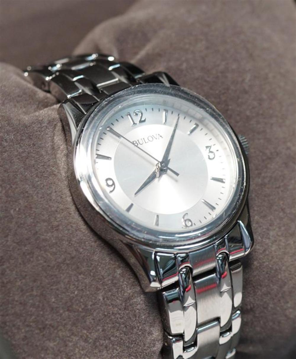 Bulova Stainless Steel Quartz Wristwatch with Original Box, Diameter: 30 mm; Length: 6-3/4 in