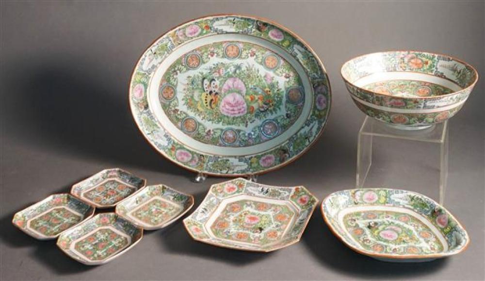 Eight Rose Medallion Porcelain Table Articles