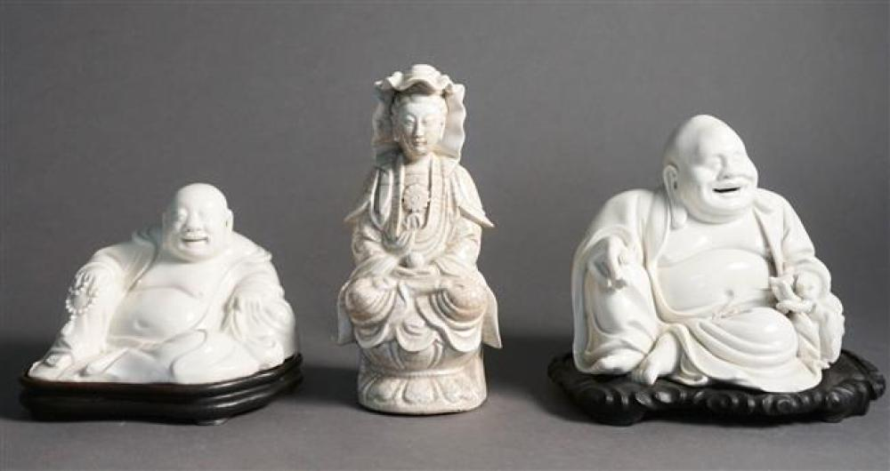 Two Chinese Blanc de Chine Hotis and a Guanyin, each on Hardwood Stand, H of Tallest: 8 in